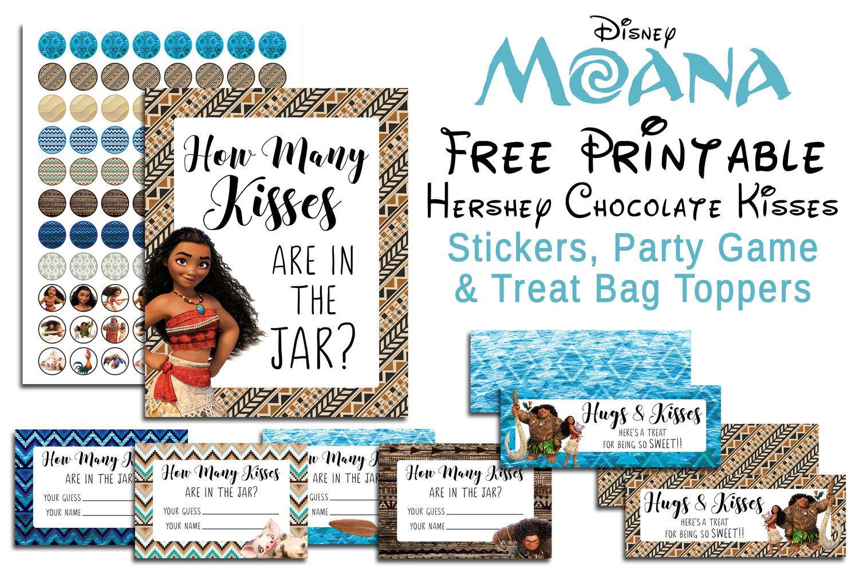Disney Moana Free Printable Hershey Kiss Stickers Treat