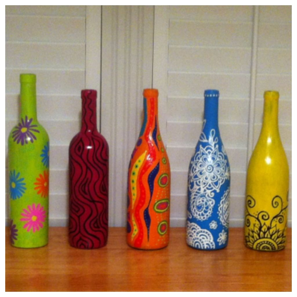 Collection Of My Wine Bottles By Linda F Botellas De Vino Vacias Botellas De Vidrio Botellas Pintadas