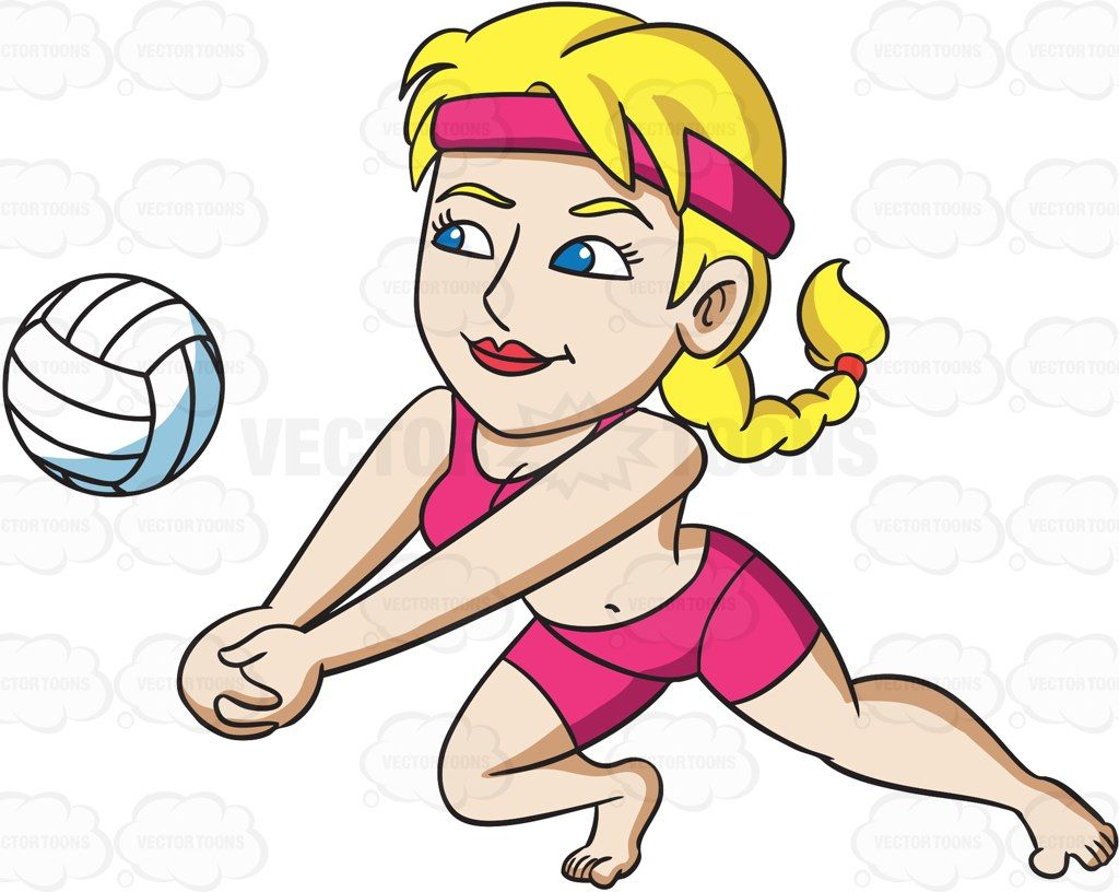A Woman Enjoying A Game Of Beach Volley Vector Graphics Vectortoons Com