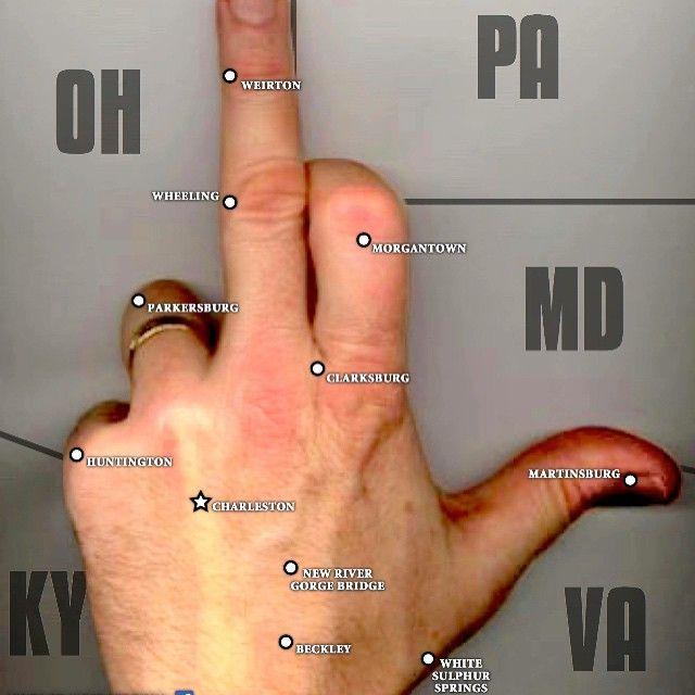 The Much Beloved West Virginia Hand Map Via Stephen Moore