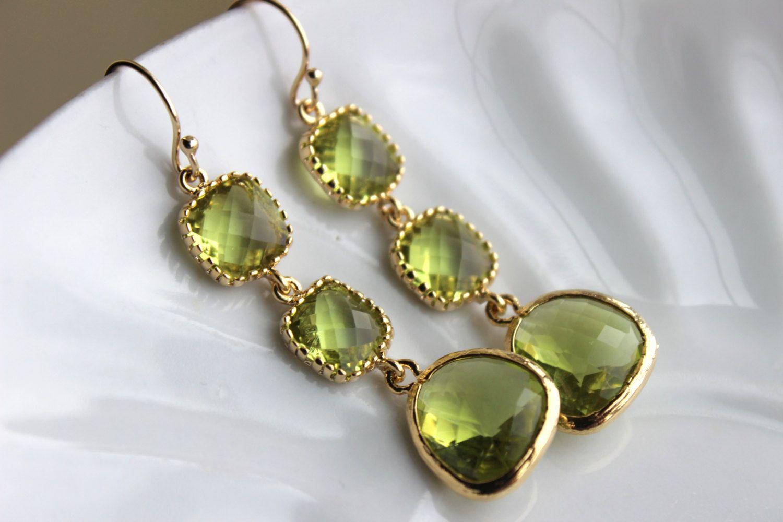 Le Green Peridot Earrings Gold Three Tiered Jewelry Bridesmaid Wedding