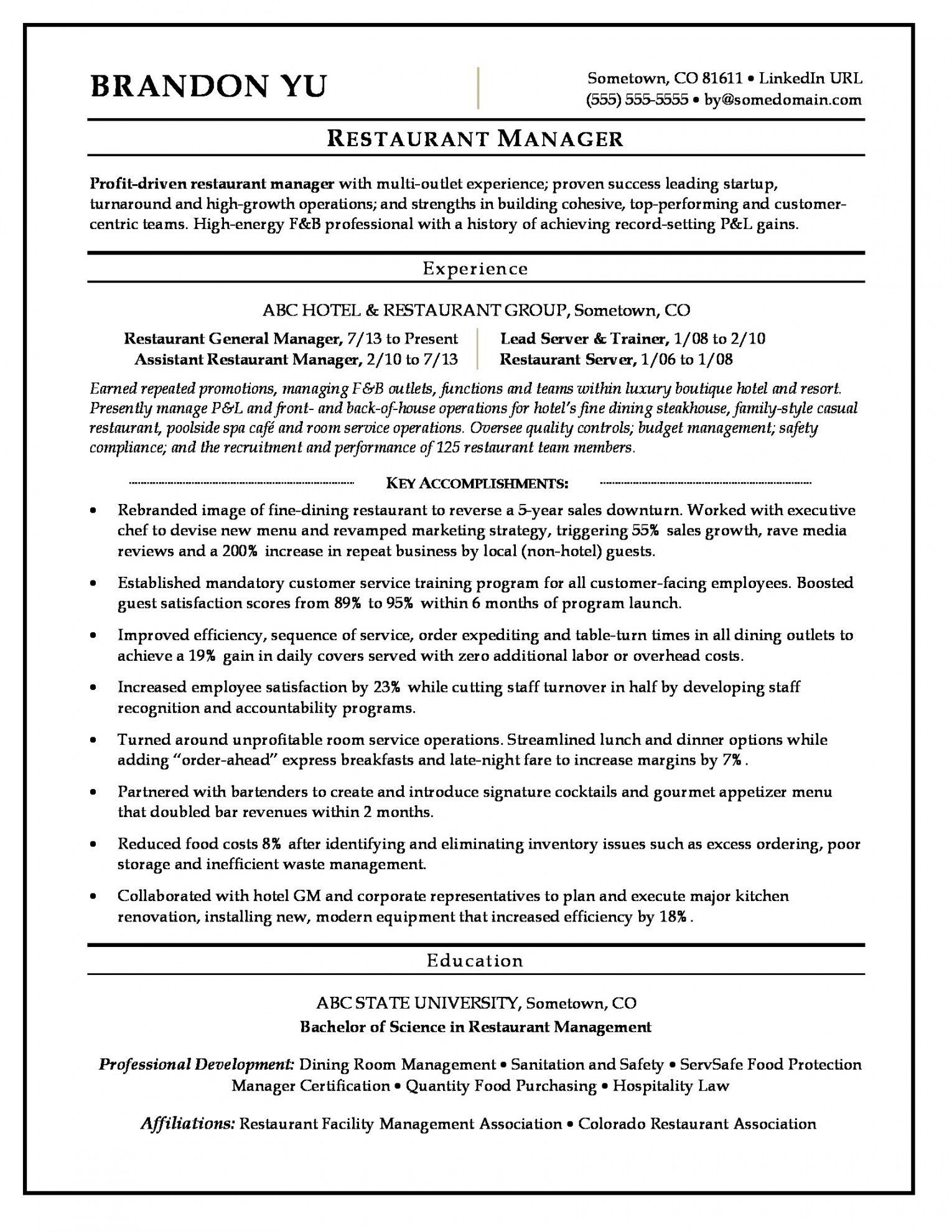 Great Restaurant Manager Resume Here Come The Secrets Restaurant Resume Restaurant Management Server Resume