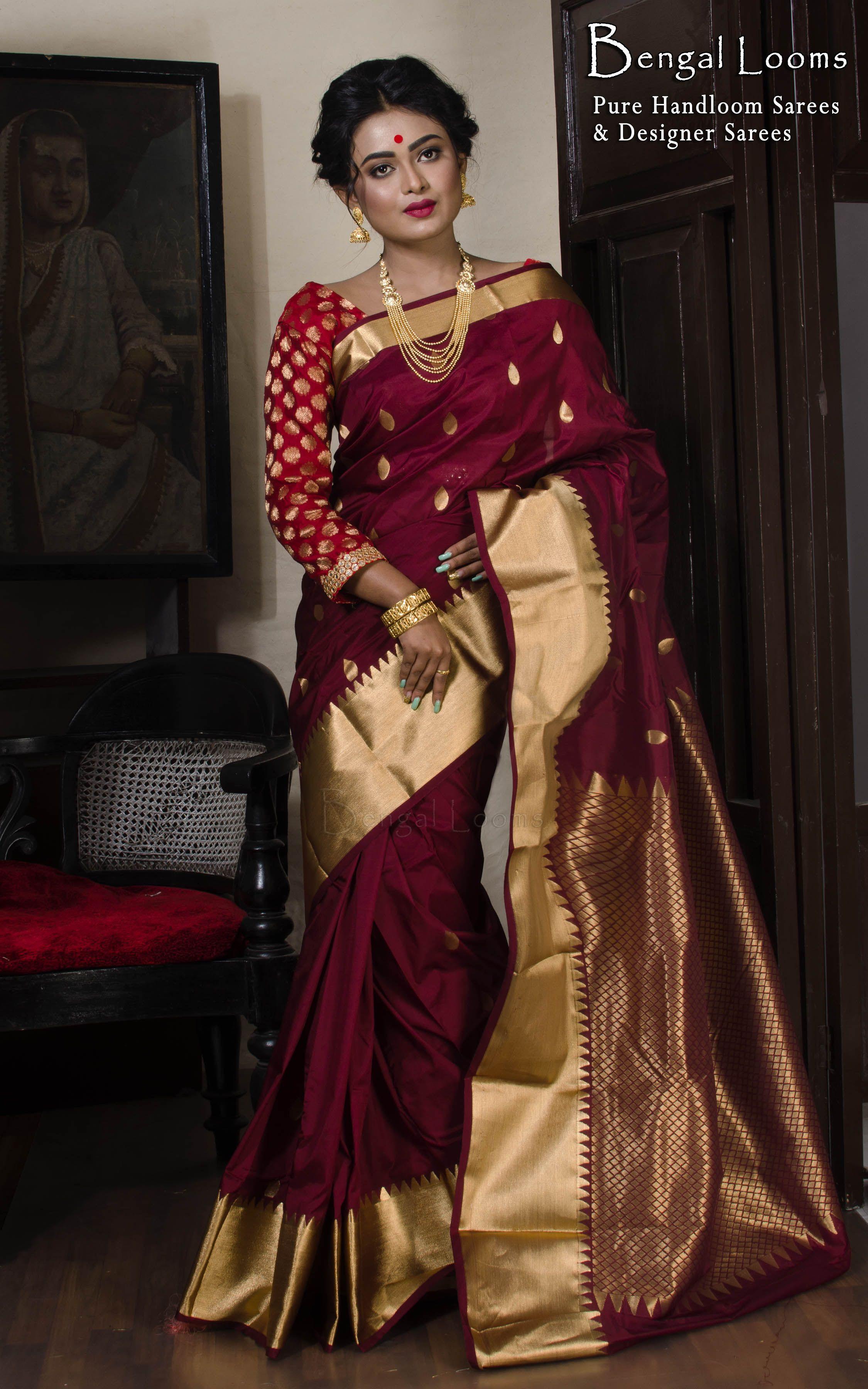 3e7998366ac6ac Art Silk Kanjivaram Saree in Maroon and Gold | Kanchipuram Silk ...