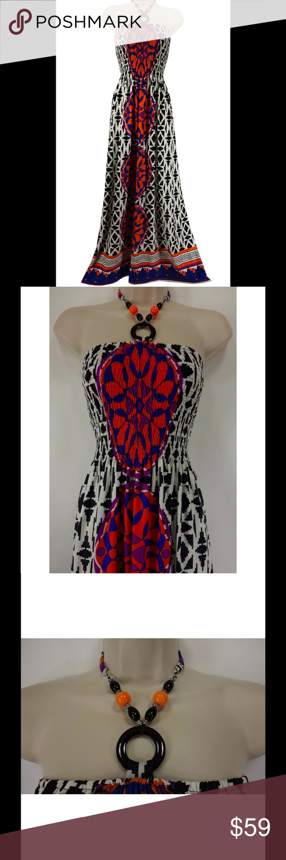 """Size 1X NWT Beaded Halter MAXI DRESS Plus Size This eye-catching maxi dress is sexy, trendy, and fashionable!   Size: 1X Slip on/ slip off All-around smocked bust Maxi length Stunning print Buttery-soft fabric Beaded halter ties at the back of the neck Measurements: Bust (armpit to armpit):  29"""" relaxed - stretches to 55"""" Waist: 50"""" relaxed  Hips:  60"""" relaxed Length: 50"""" (armpit to bottom hem)  Condition:  BRAND NEW WITH TAGS! Fabric Content: 95% Polyester  5% Spandex Fabric Care:  Machine…"""