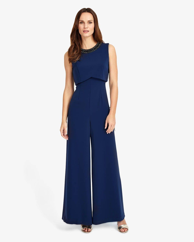 Phase Eight Elsie Embellished Jumpsuit Blue