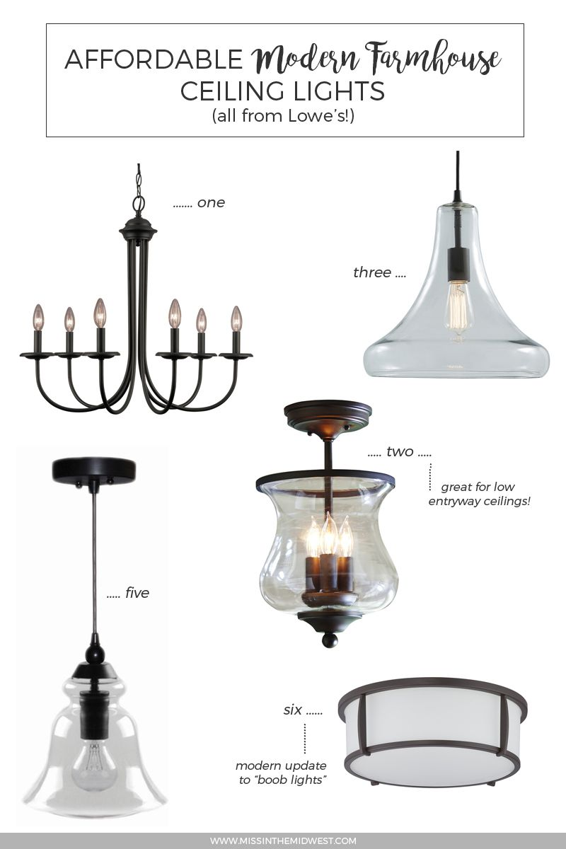 Affordable modern farmhouse ceiling lights from lowes · miss in the midwest