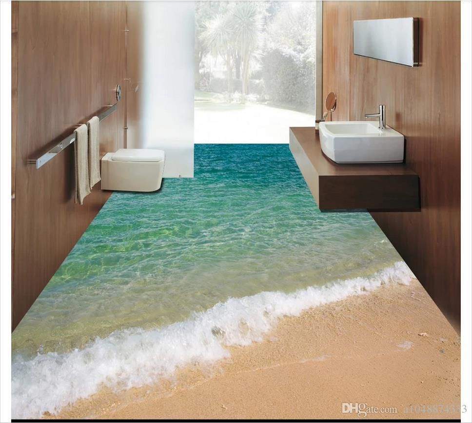 Grosshandel Wholesale Custom Photo Floor Wallpaper 3d Meer Ozean Strand Boden Badezimmer Wohnzimmer 3d Bodenbelag Selbstklebende Bodendekor Malerei Von A10488743 3d Bodenbelag Bodenbelag Badezimmer 3d Boden