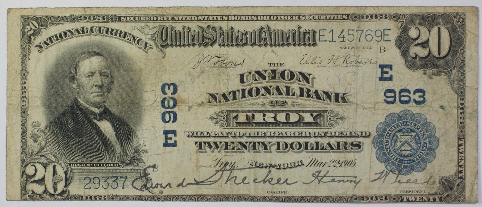 1905 20 National Currency Large Size Banknote Troy New York Charter E963 Ebay Bank Notes Kentucky Money Collection