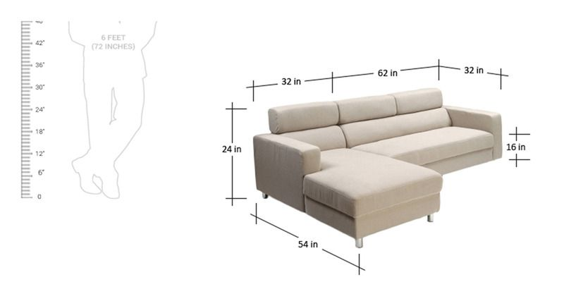 Mini L Shape Sofa With Left Side Lounger In Cream Colour By Furny