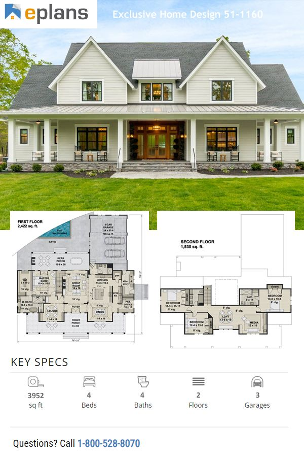 Farmhouse Style House Plan 4 Beds 4 Baths 3952 Sq Ft Plan 51 1160 Farmhouse Style House Plans Farmhouse Style House House Plans Farmhouse