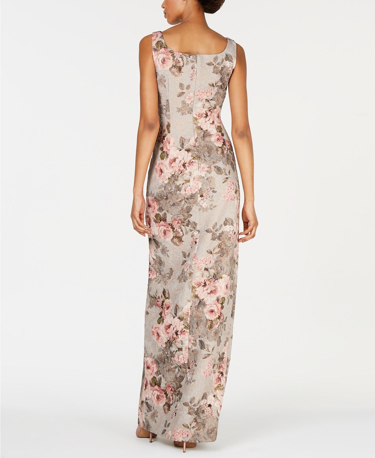 Adrianna Papell Metallic Floral Print Gown Reviews Dresses Women Macy S In 2020 Floral Print Gowns Printed Gowns Mother Of The Bride Dresses