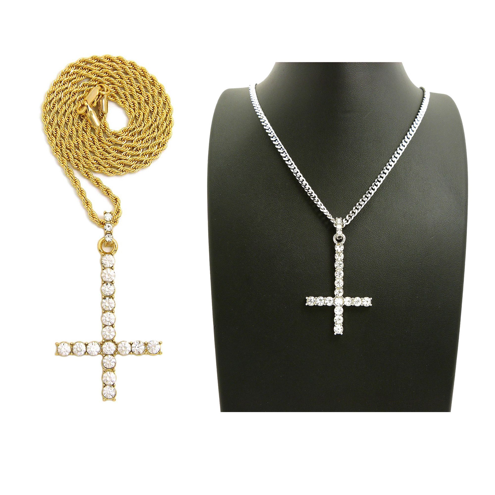 Iced out cross of st peter pendant 24 boxcubanrope chain iced out cross of st peter pendant 24 boxcubanrope chain necklaces rc2905 aloadofball Images