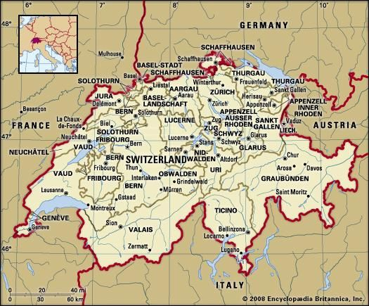 Switzerland Political Map Boundaries Cities Includes Locator - World map city locator