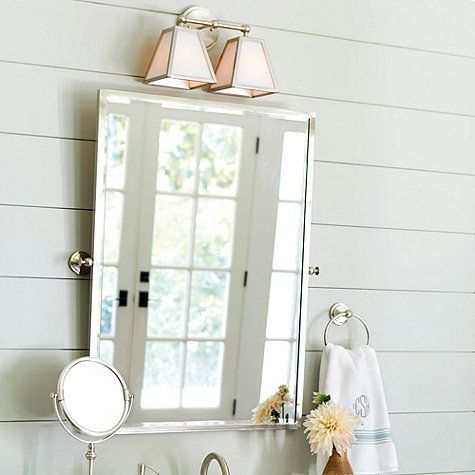 Bathroom Mirror Chrome amelie rectangular pivot mirror - statin nickel finish 22x30