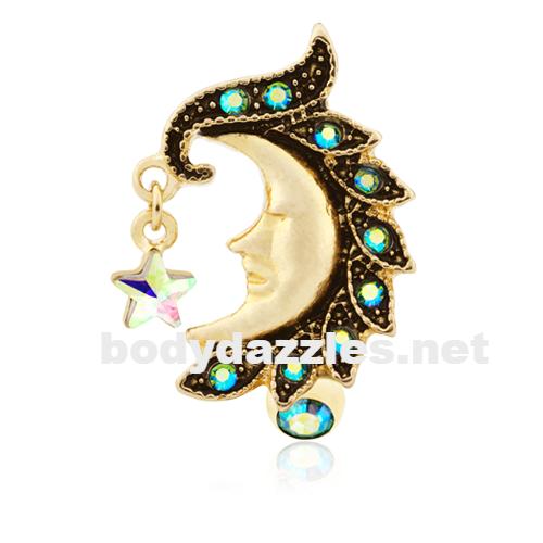 Golden Elegance Teardrop Sparkle WildKlass Belly Button Ring