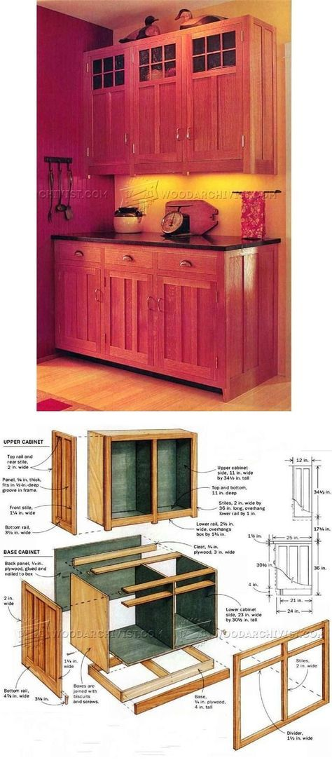 Kitchen Cabinets Plans - Furniture Plans and Projects #WoodworkingProjects