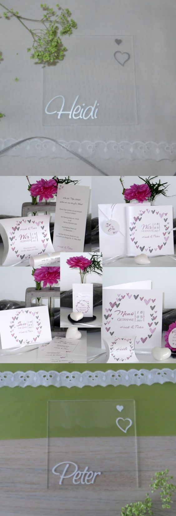 Tischkarten Aus Acryl Und Die Passende Hochzeitspapeterie Mit Ganz