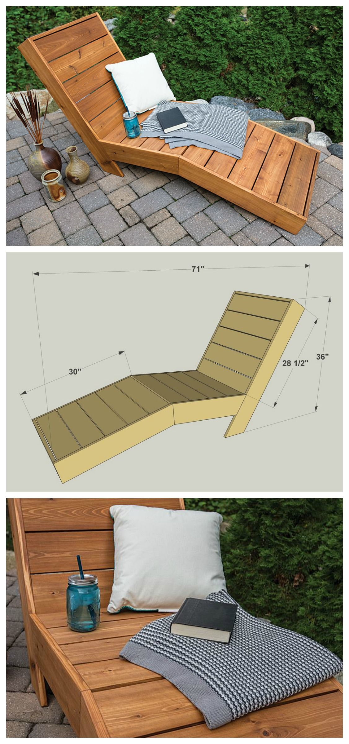 Diy outdoor chaise lounge free plans at buildsomething