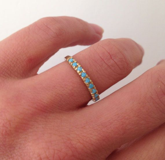 Photo of Turquoise Ring – Sleeping Beauty Turquoise – December Ring – Half Eternity Ring – Prong Ring – Turquoise Jewelry – Gold Ring – Simple Ring