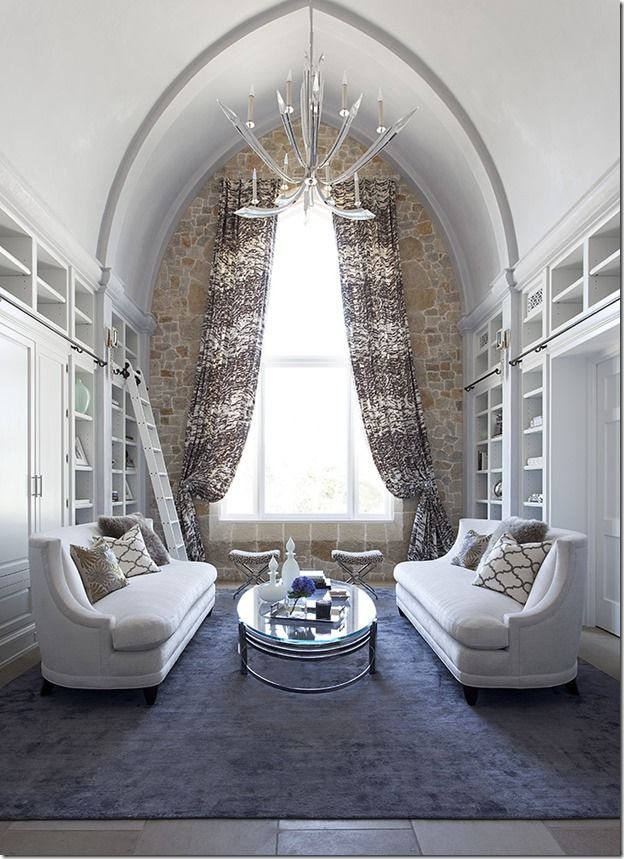 a barton creek castle formal library cozy serene simple graphic patterns - Transitional Castle Decorating