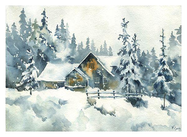 Artiste ? Titre ? c'est un paysage d'hiver, il y a un chalet en bois brun avec de la neige sur  # Peinture Chalet Bois