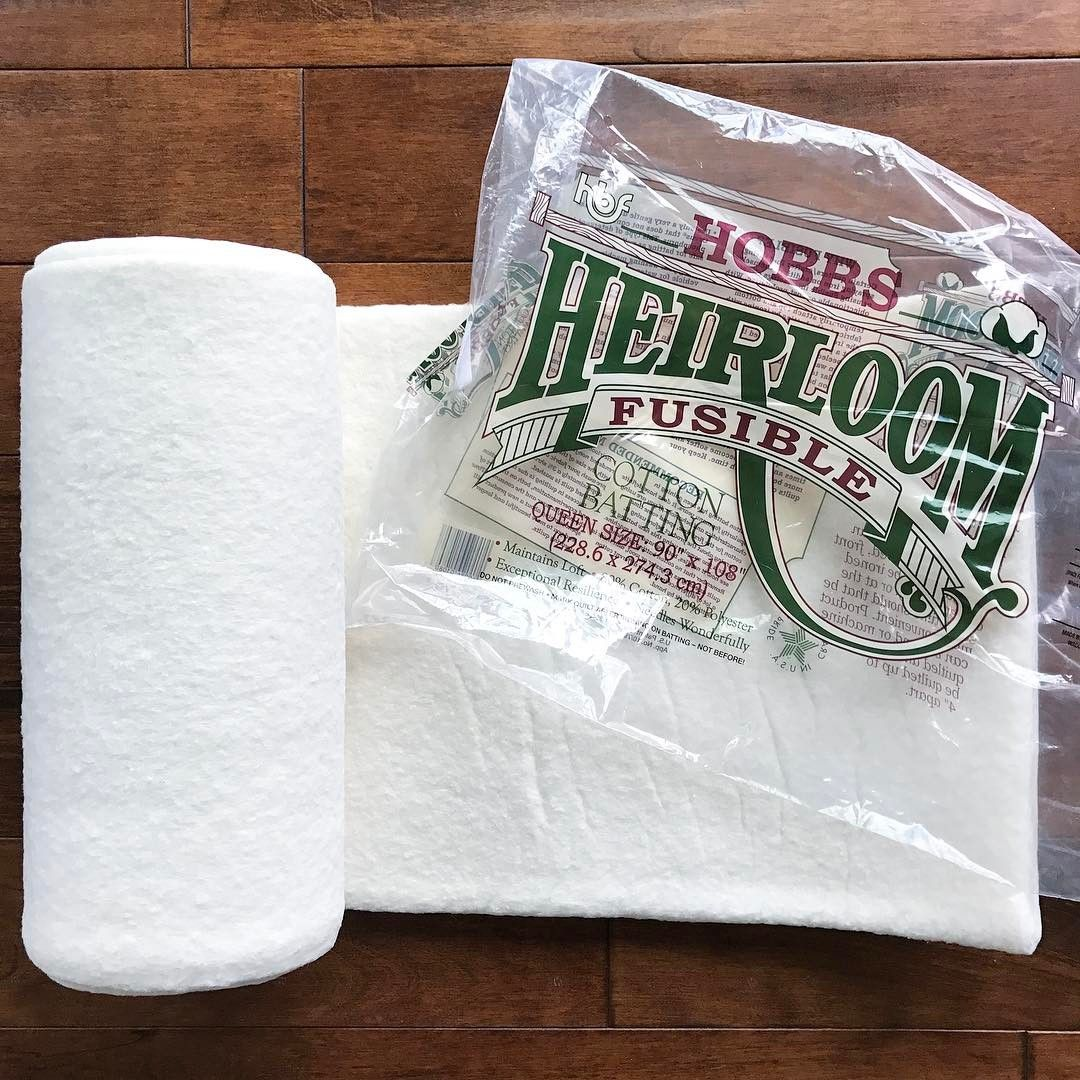 Have I shared with you all my secret weapon for making mini quilts?! 👆🏻This fusible batting from @hobbsbatting is a total game-changer!  I hate to pin, and this makes it so I don't have to!  I like to buy the queen sized rolls and cut off of them for minis, bag making, mug rugs, etc.  Have you tried it before?!...if so let me know what else you use it for! 👌🏻-  (Not sponsored, I just like the stuff and thought you might too! 👍🏻)