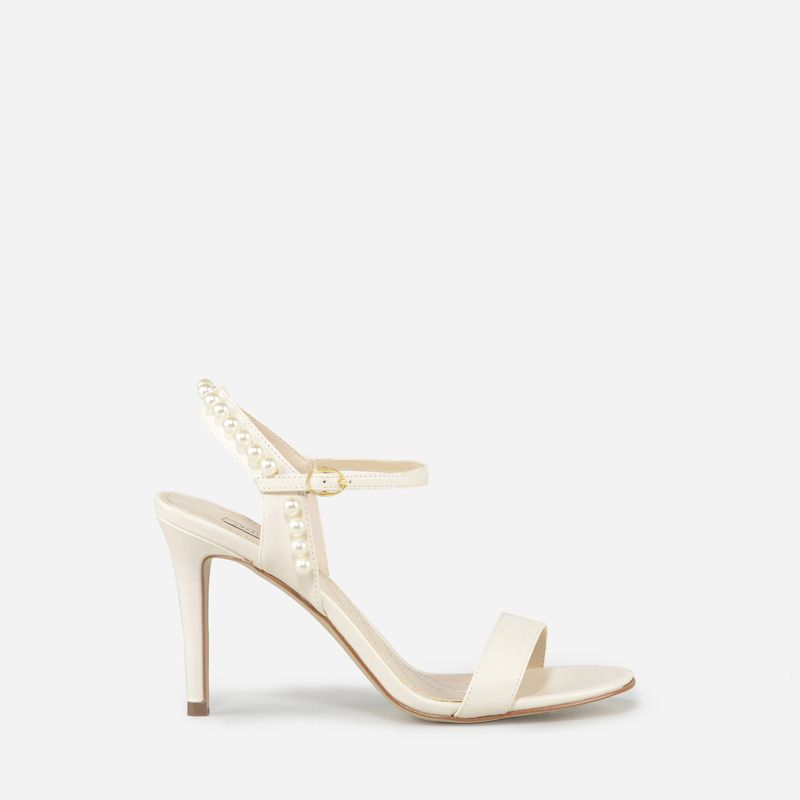 dfe06acbe7 Pearl Ankle Strap Heels - White - Heels - Shoes | CHARLES & KEITH ...