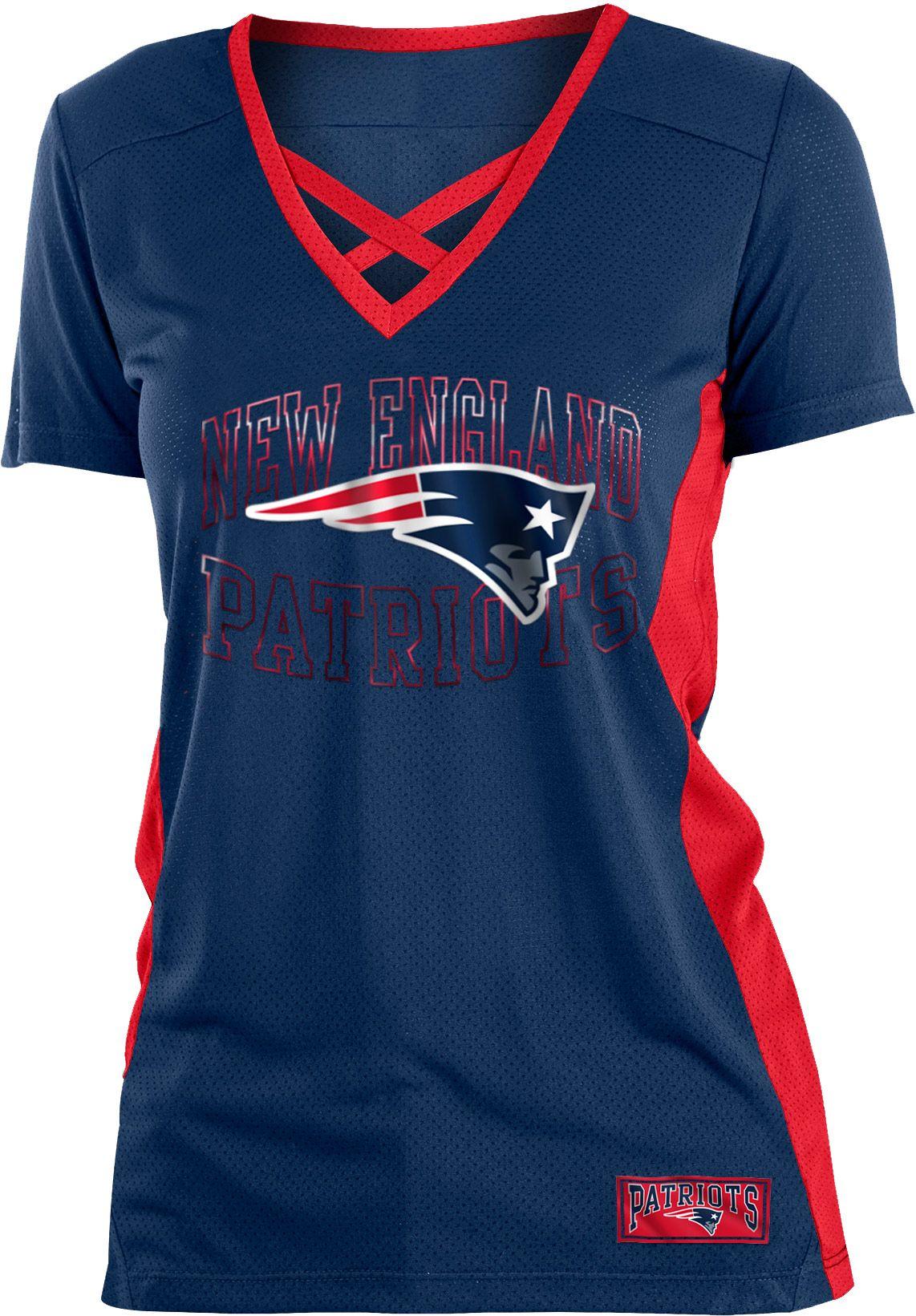 94a646e2a NFL Team Apparel Women s New England Patriots Mesh Lace Navy T-Shirt ...