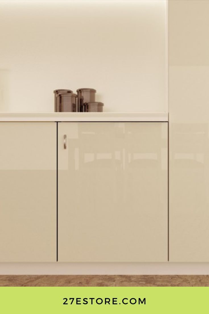High Gloss Polyester Almond Cream in 2020 | Gloss cabinets ...