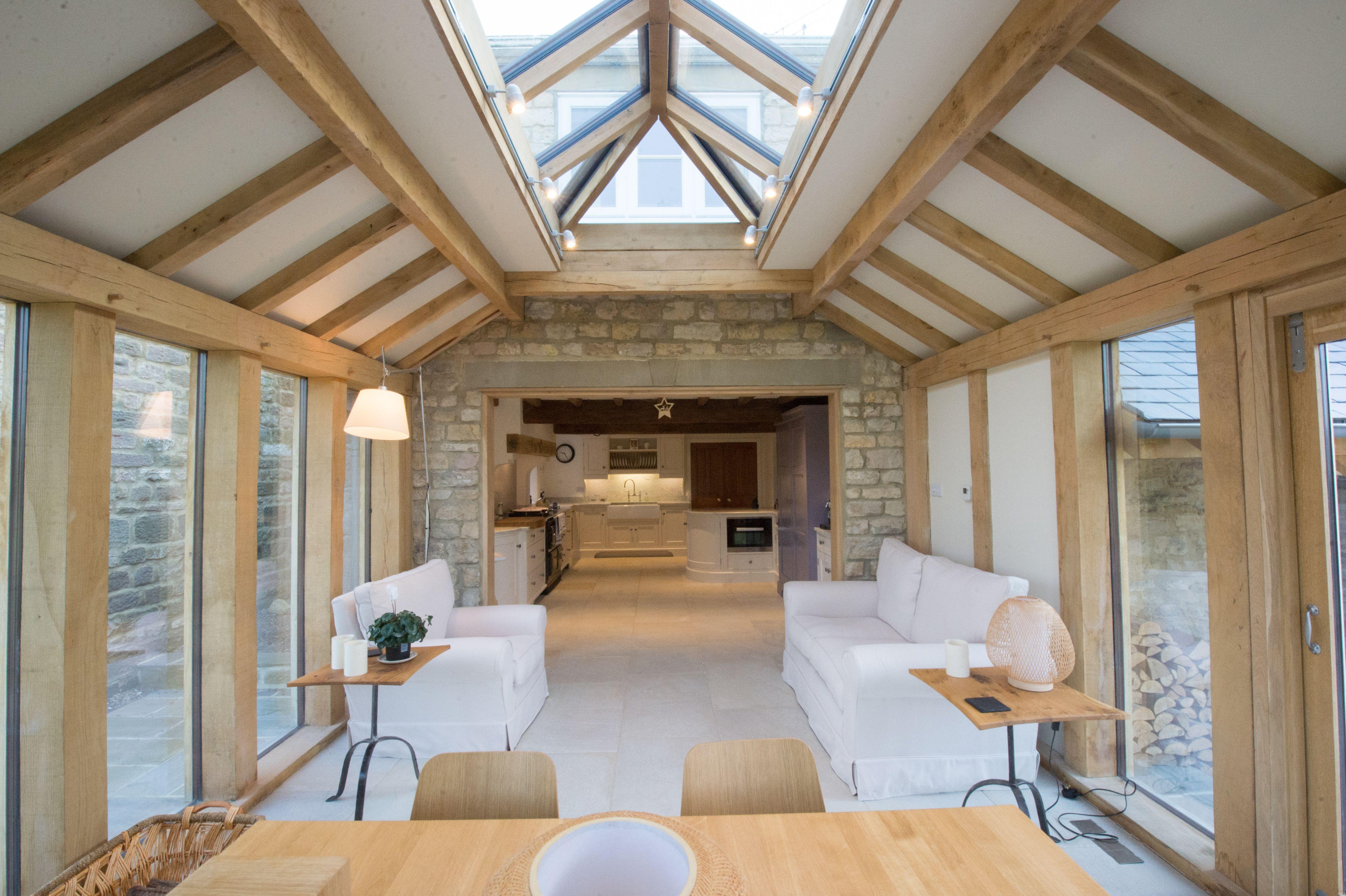 Internal green oak frame structure orangery built by parker oak based in north yorkshire
