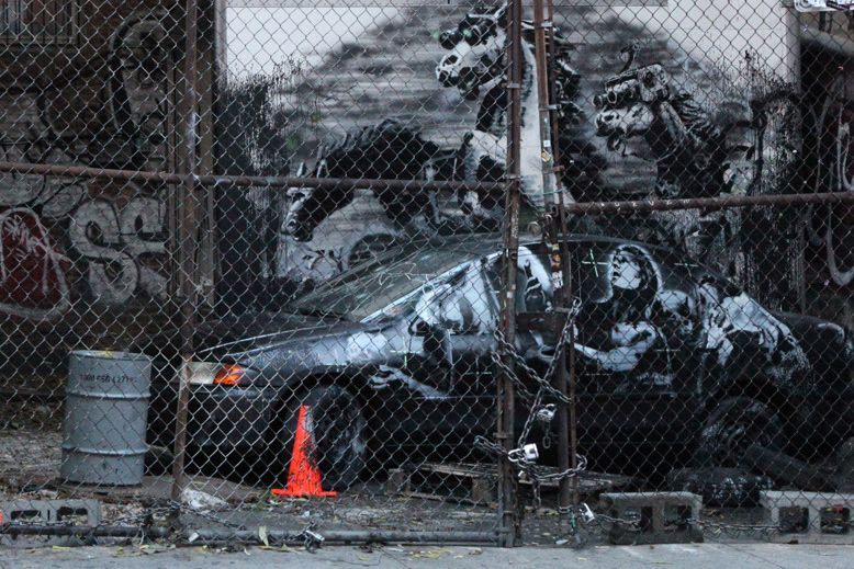"#Banksy's 'Crazy Horse' On the Lower East Side for ""Better Out Than In"" #StreetArt"