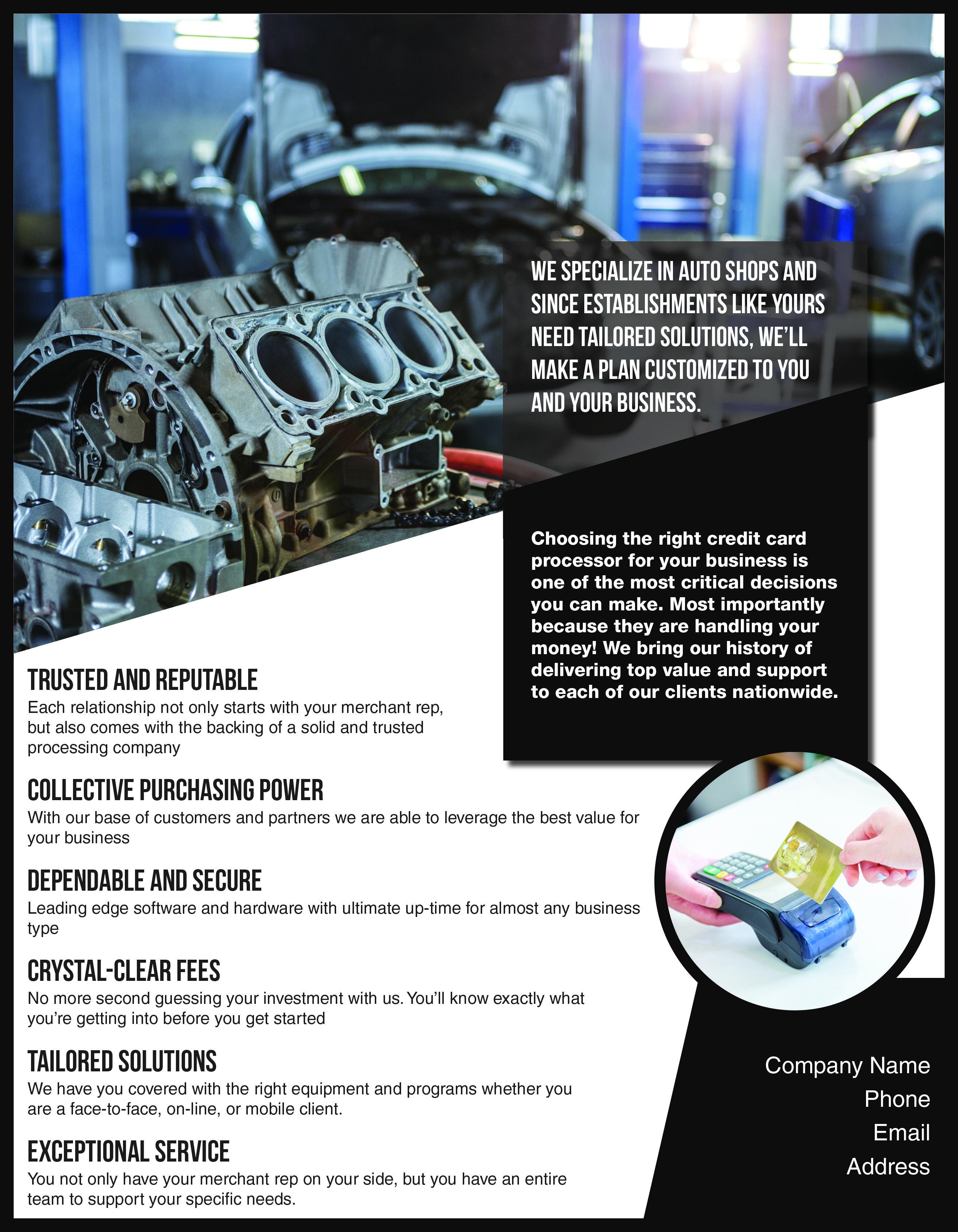flyer design for auto repair section. Postcard design