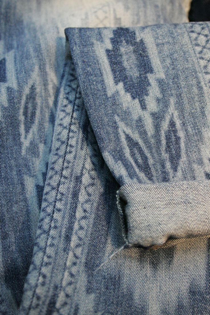 Aztec discharge print denim | DIY in 2019 | Denim trends