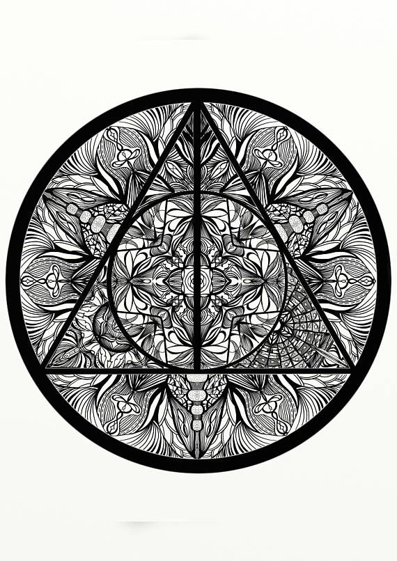 Harry Potter Deathly Hallows Inspired Adult Coloring Mandala