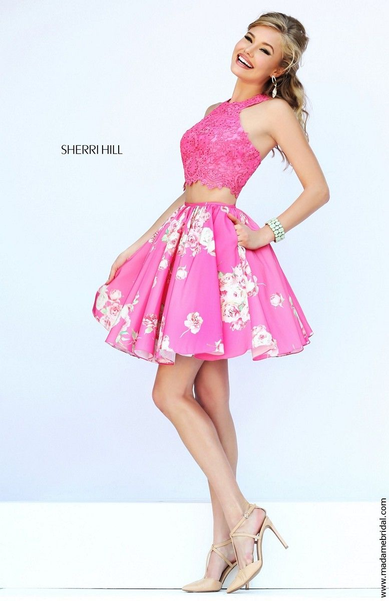 Sherri Hill 32245 Two-Piece Lace Crop Top Floral Print Skirt Side ...