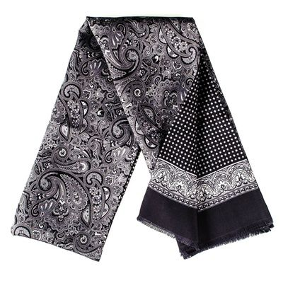 9bcc727f8d9 Men s Black   Silver Paisley Silk Scarf To Buy Online