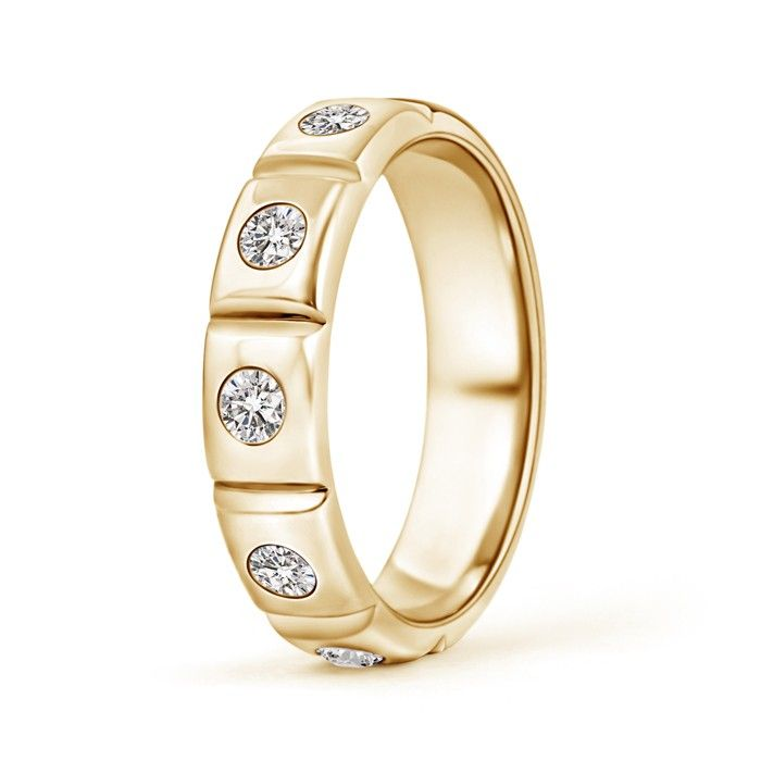 Angara Channel-Set Diamond Five Stone Mens Wedding Band YhsLYHW