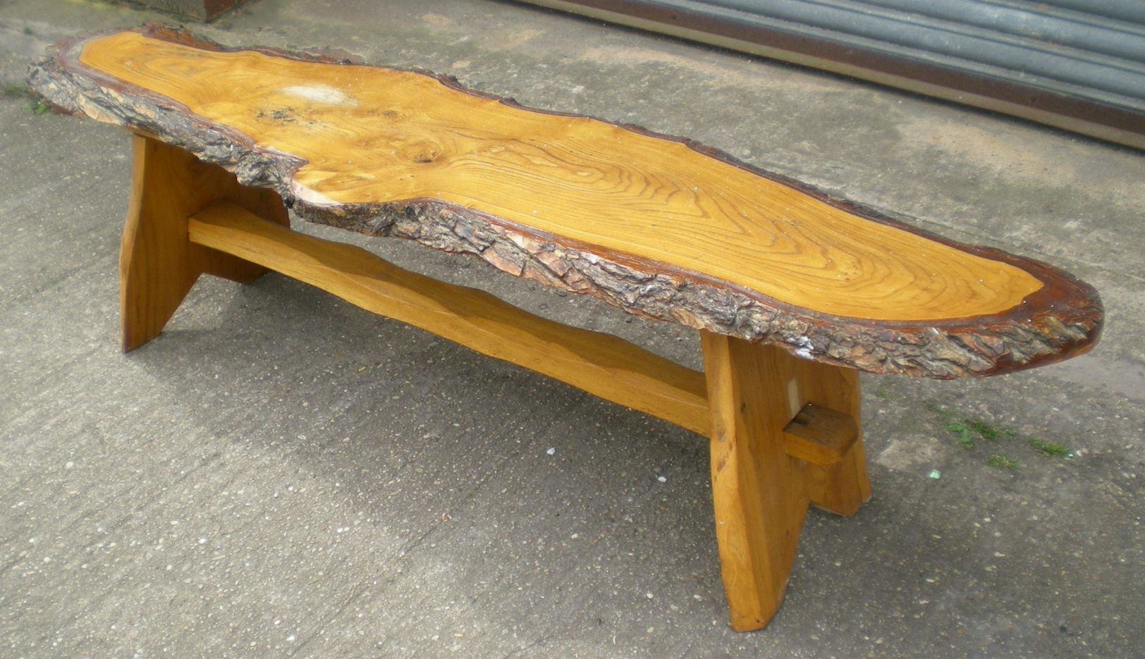 Rustic look long log style coffee table logs coffee for Long rustic table