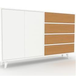 Photo of Holzregal Weiß – Modernes Regal aus Holz: Schubladen in Eiche & Türen in Weiß – 152 x 91 x 35 cm, Pe
