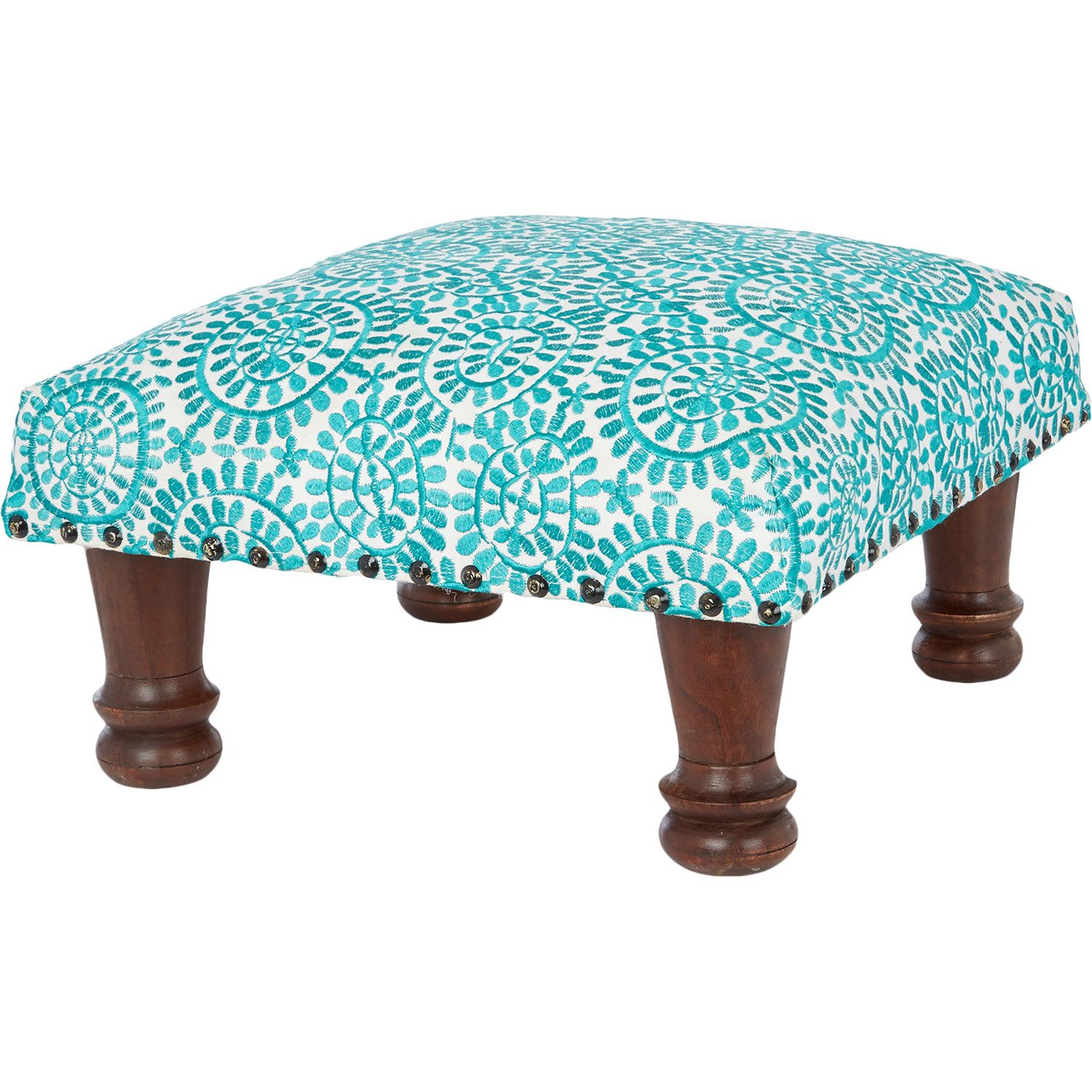 Turquoise Spirograph Foot Stool
