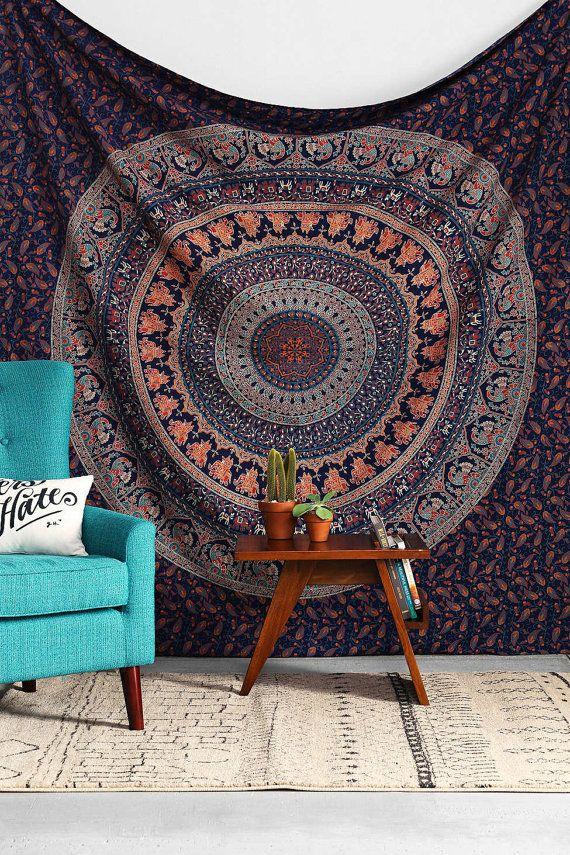 Blue Hippy Hippie Wall Hanging Elephant Mandala