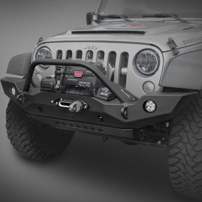 JCR Offroad Vanguard Full Width Front Bumper with Hoop in Textured Black with Winch Cut-Out for 07-17 Jeep Wrangler JK & JK Unlimited