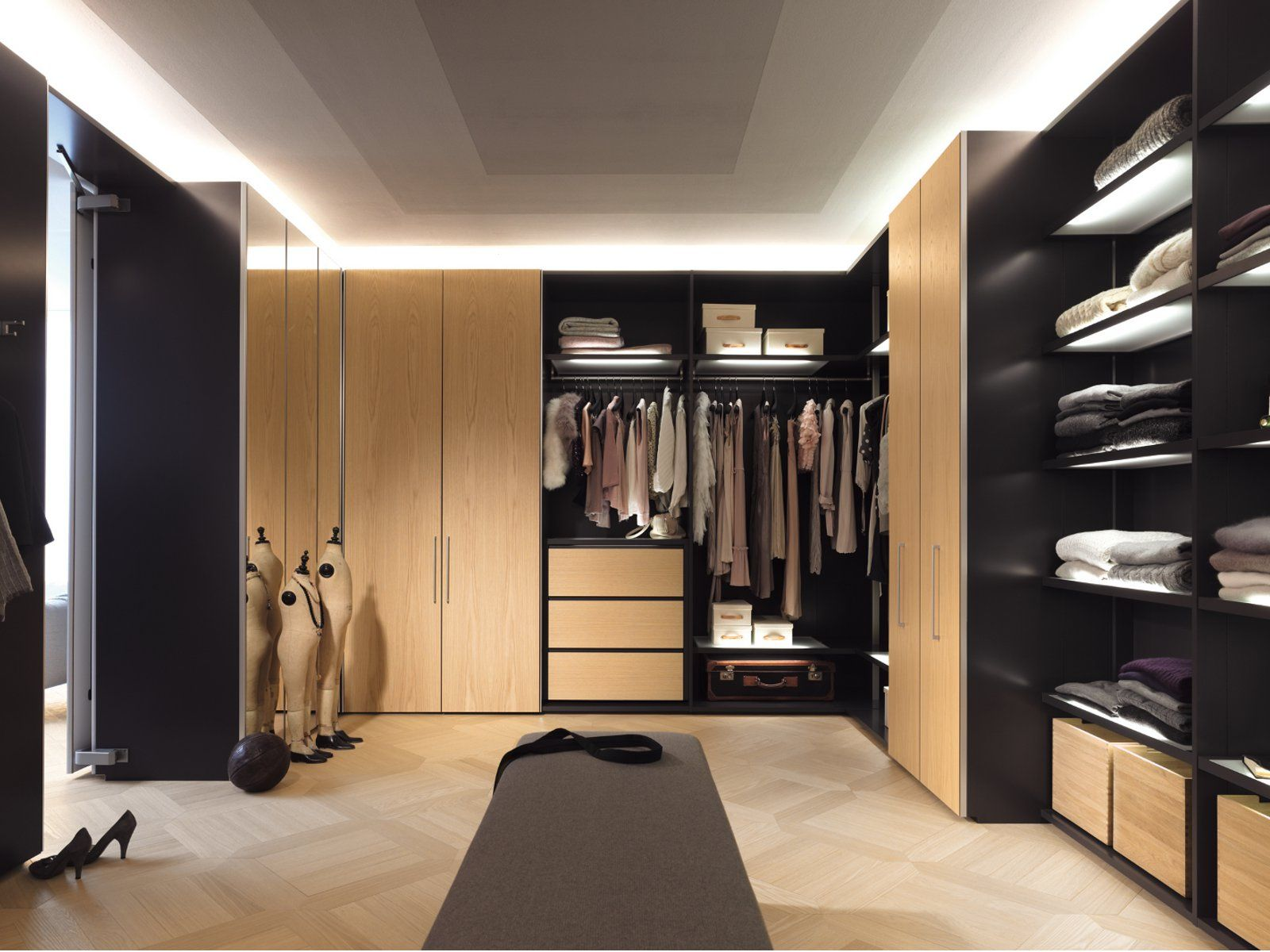 Exceptionnel Charming Wooden L Shaped Wardrobe Closet Cabinet System With Open Shelves  Clothing Storage And Drawers As Well As Hidden Sliding Door In Modern Walk  In ...