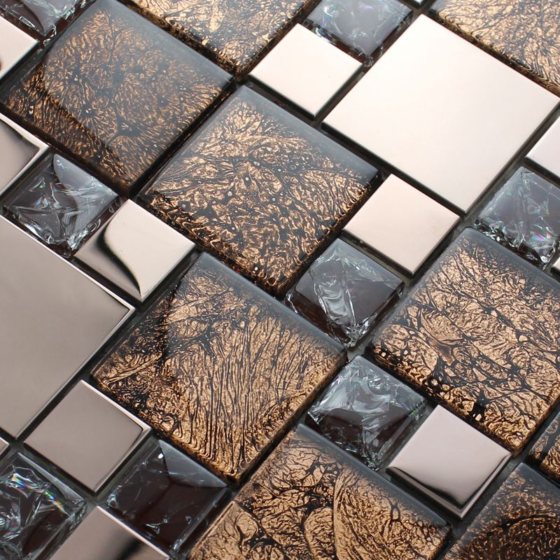 Metal and glass blend mosaic tile brown crackle crystal backsplash  stainless steel with base MGT007 kitchen - Metal And Glass Blend Mosaic Tile Brown Crackle Crystal Backsplash