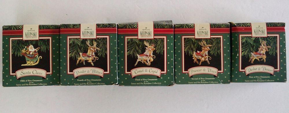 Santa and His Reindeer (1992) Hallmark Keepsake Ornament Complete Collection