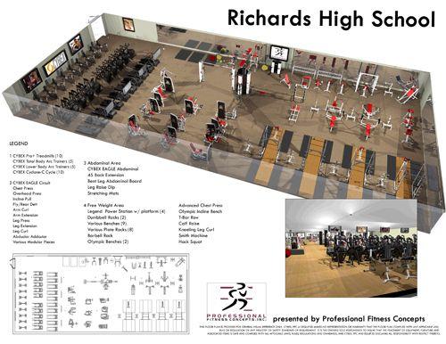 Fitness center design layout floor plan 4 gym for Gym design layout