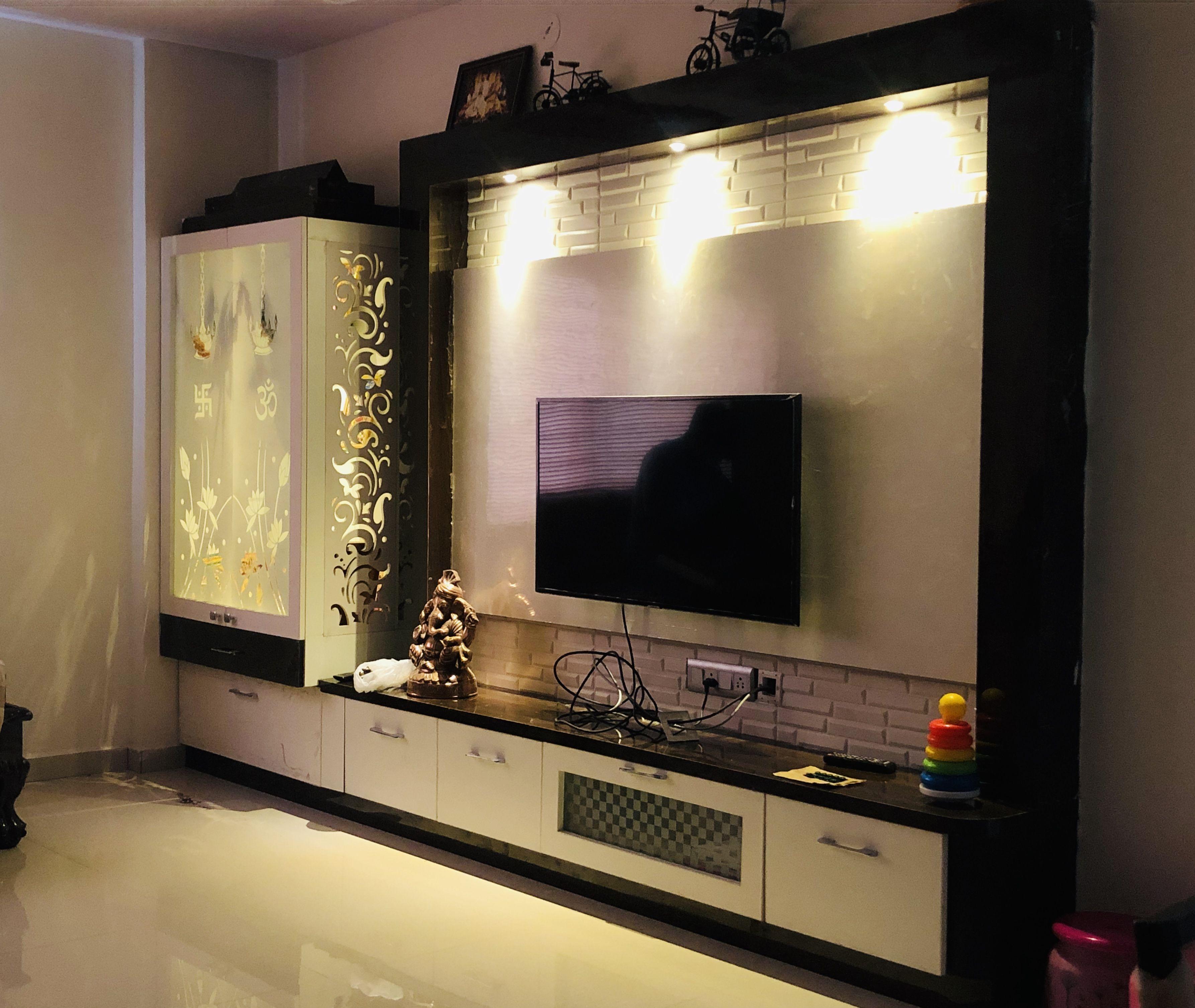 Tv unit along Pooja unit   Tv unit furniture design, Living room ...