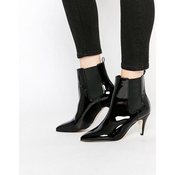 Leather boots heels, Kitten heel ankle