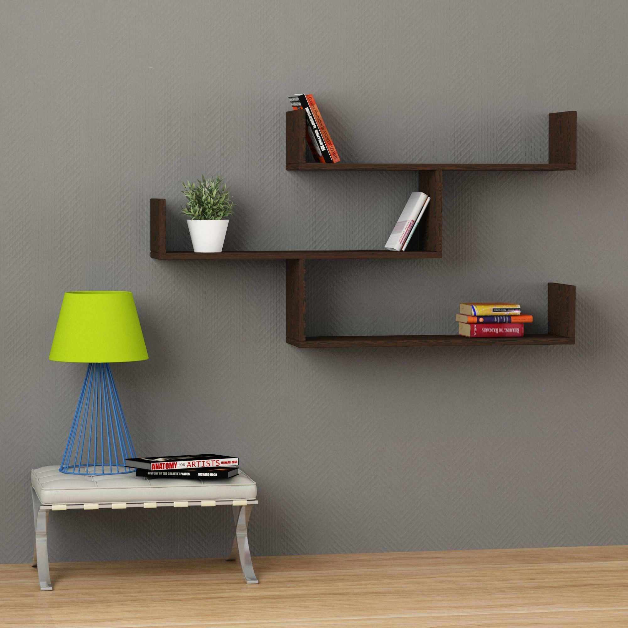This Simple And Popular Modern Style Wall Shelf Has An Innovative Space Saving Design While Bein Unique Wall Shelves Modern Wall Shelf Wall Shelves Living Room