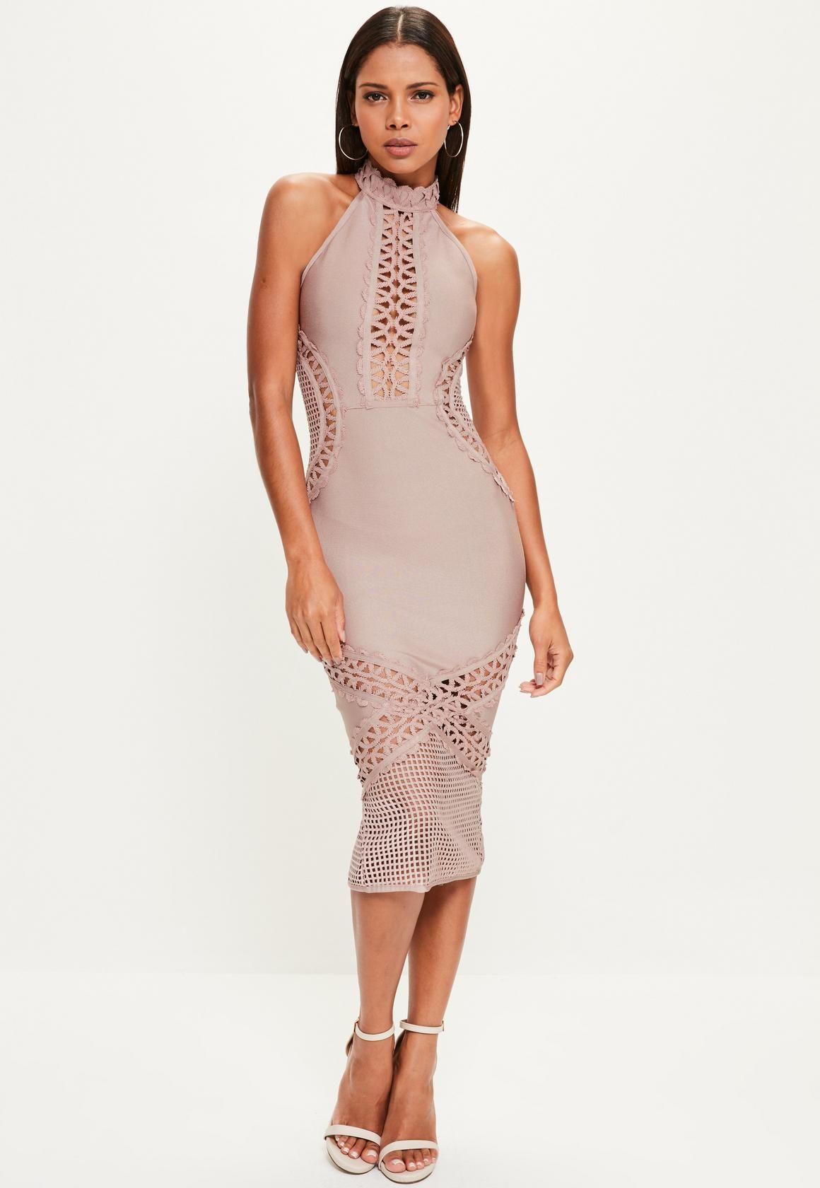 1a36803a2e Missguided - Purple Bandage and Lace Midi Dress